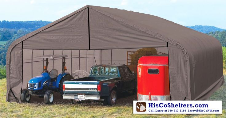 Shelter Logic Portable 3 Car Garage Peak Roof 30' wide - Heavy Duty - Fully Enclosed **Prices from $4597 **We also offer FREE shipping and Ebook **Check out www.hiscoshelters.com or Call Larry at 360-217-7186 / Email: Larry@Hisconw.com #portable #garage #peakroof #shelter #shelterlogic #3cargarage