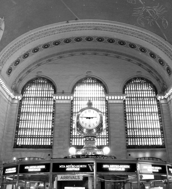 grand central station clock black and white new york usa