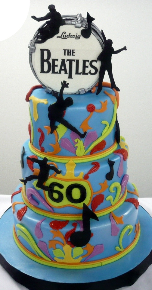 Birthdays for Grownup_Beatles drum, 60's theme, funky colours