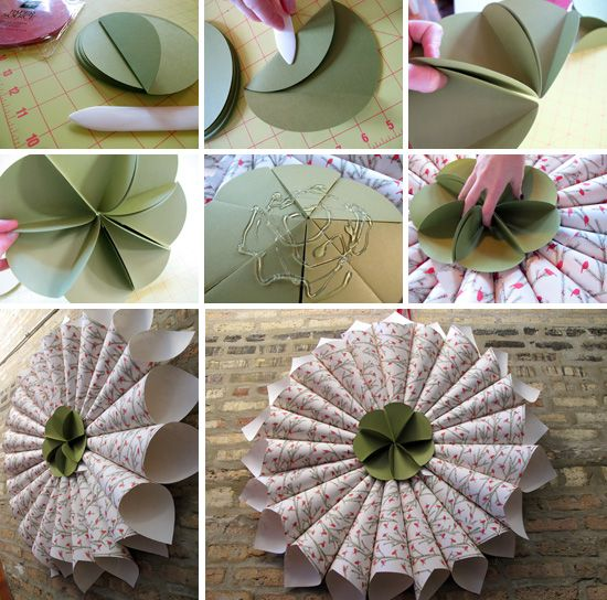 Wrapping paper cone wreath