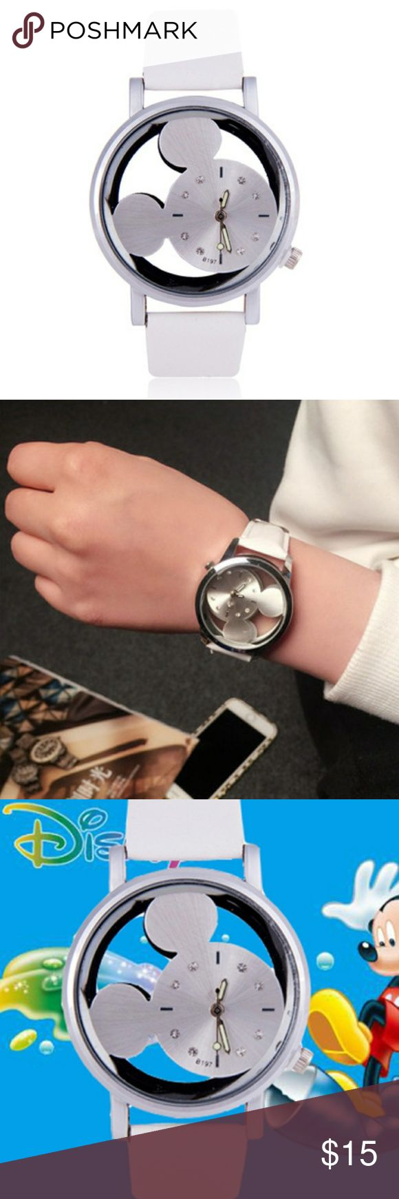 Women's Hollow Mickey Watch w/White Leather Band Women's Hollow Mickey Watch w/White Leather Band Accessories Watches