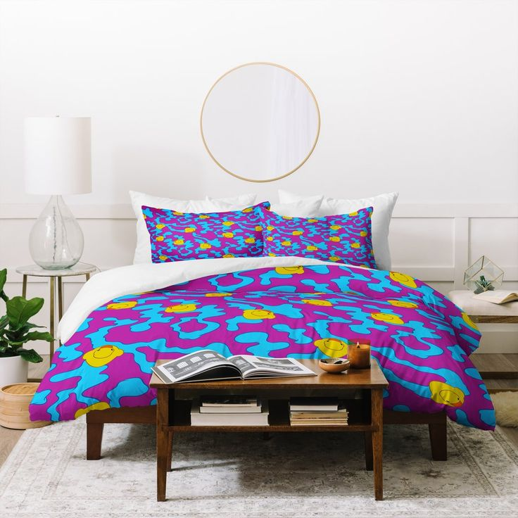 Evgenia Chuvardina Rubber Ducks On Purple Duvet Cover  | Deny Designs