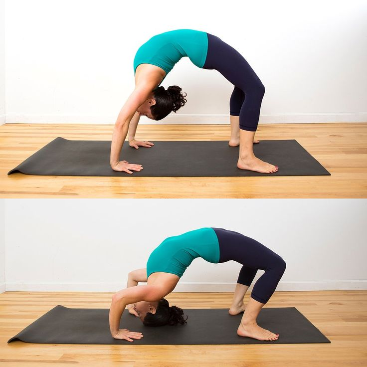 Learn to master the #handstand in several steps. Step 2: Backbend push ups 😬 great for your upper body