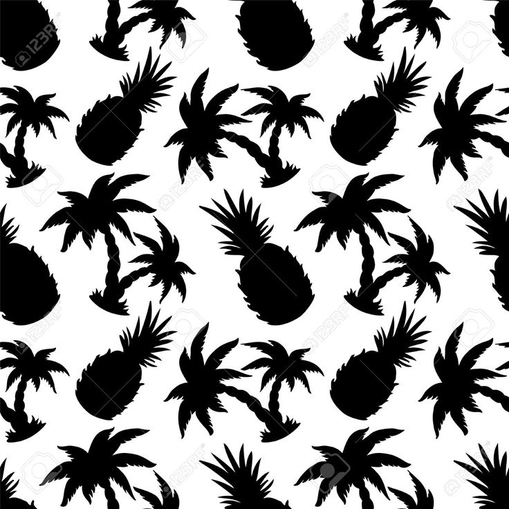pineapple silhouette palm coconut pattern trees vector silhouettes clipart clip tree pineapples cameo patterns seamless illustrations palms similar