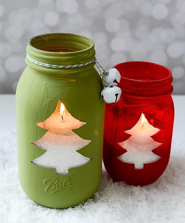 Mason Jar Holiday Crafts - Christmas Tree Cut Out Votive