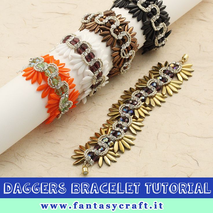 daggers beads and chaton bracelet tutorial, step by step picture and beading instruction - Foto e testi passo passo per un bracciale con perline daghe e strass da cucire #fantasycraft