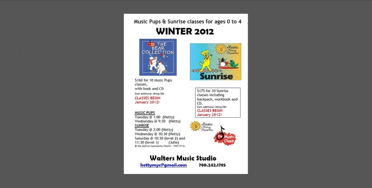 Music Classes -- Music Pups Bear Collection and MYC Sunrise