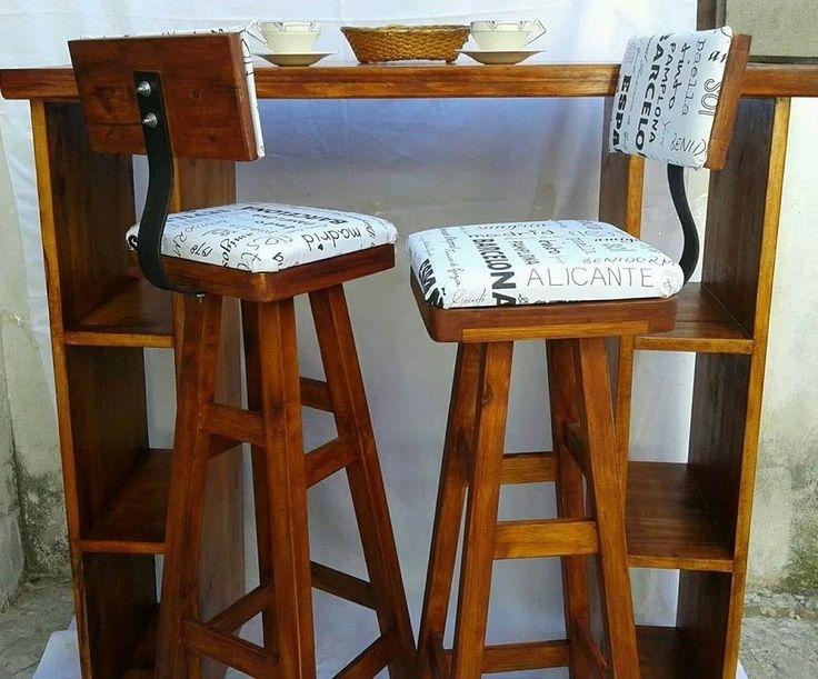 banquetas altas taburetes tapizadas wengue nogal algarrobo