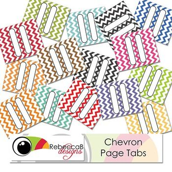 FREE PRINTABLE 15 brightly colored, chevron page tabs/dividers ready to print and cut with scissors.  Bend on the dotted line and glue along the side of your pages to be divided in your Journals, Planners or Diaries.  These are best printed on a light weight white card, A4 size.