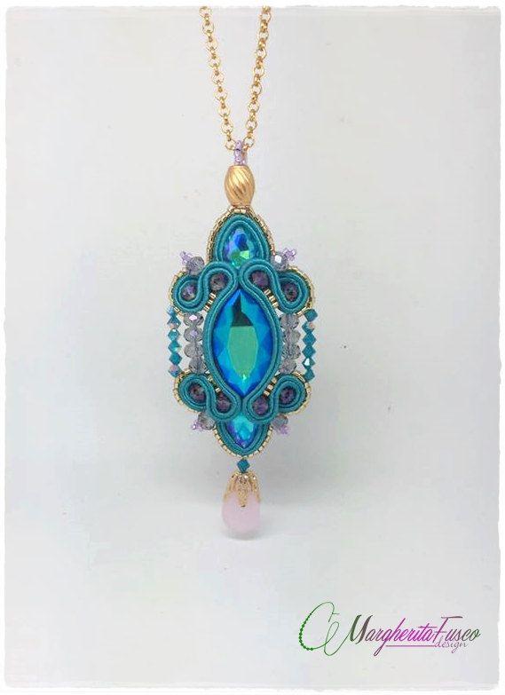 Ophelia handmade soutache pendant blue/green shade by 75marghe75
