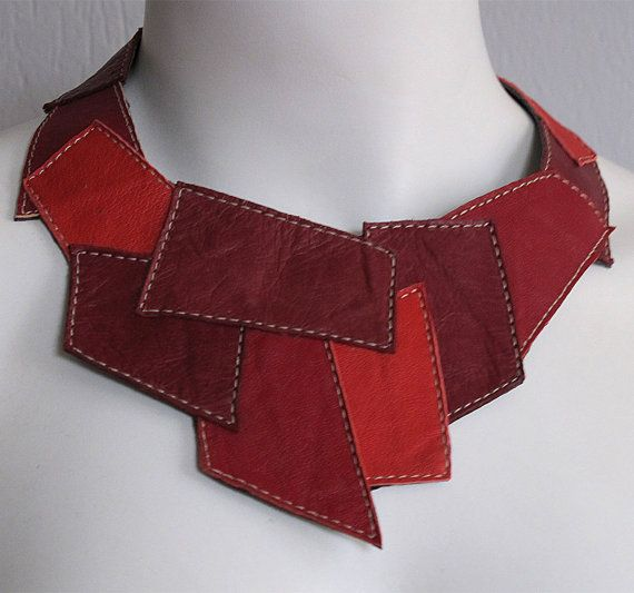 Unique red necklace from UPCYCLED LEATHER by vadenuevocr on Etsy, $55.00