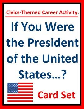 """FREE """"If you were the President of the United States?"""" card set presents students with thought-provoking, serious, and lighthearted questions. A fun group activity, daily warm-up, writing prompt, or exit ticket for career exploration, civics, government, or homeroom classes."""