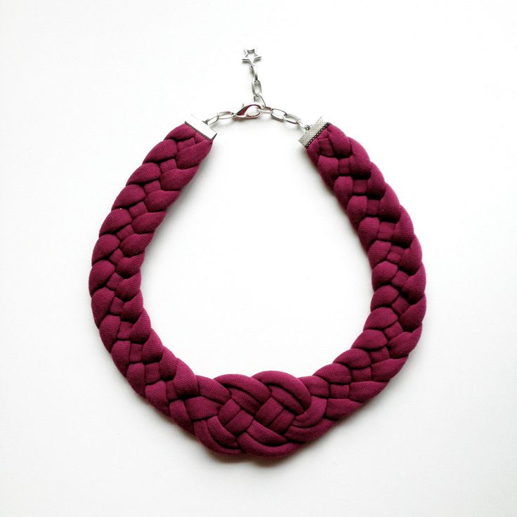 The knot necklace - handmade in grey sparkling jersey fabric. $18.00, via Etsy.  Good idea for clay