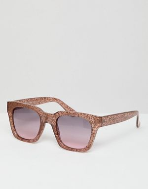 e42d9aa1167 AJ Morgan square sunglasses in rose gold glitter