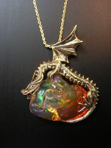 Marty Magic Store - Sunrise Dragon Pendant with Mexican Fire Opal #opalsaustralia