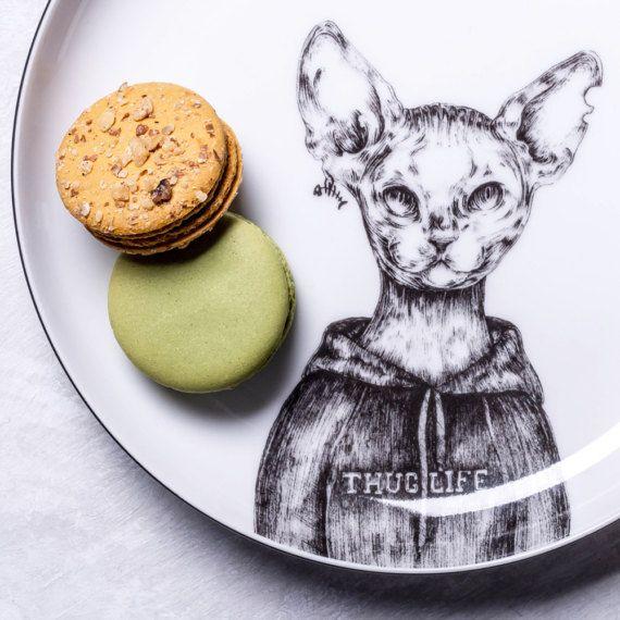 Thug life Devon Rex Cat Porcelain Dessert Plate by GiftWorkshopWarsaw