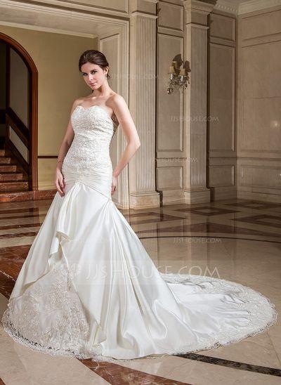 Corte A/Princesa Escote corazón Tren de la catedral Satén Vestido de novia con Volantes Encaje Bordado Flores (002004539)