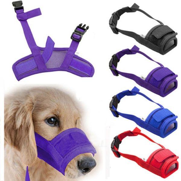 1x Dog Adjustable Mask Bark Bite Mesh Mouth Muzzle Grooming Stop