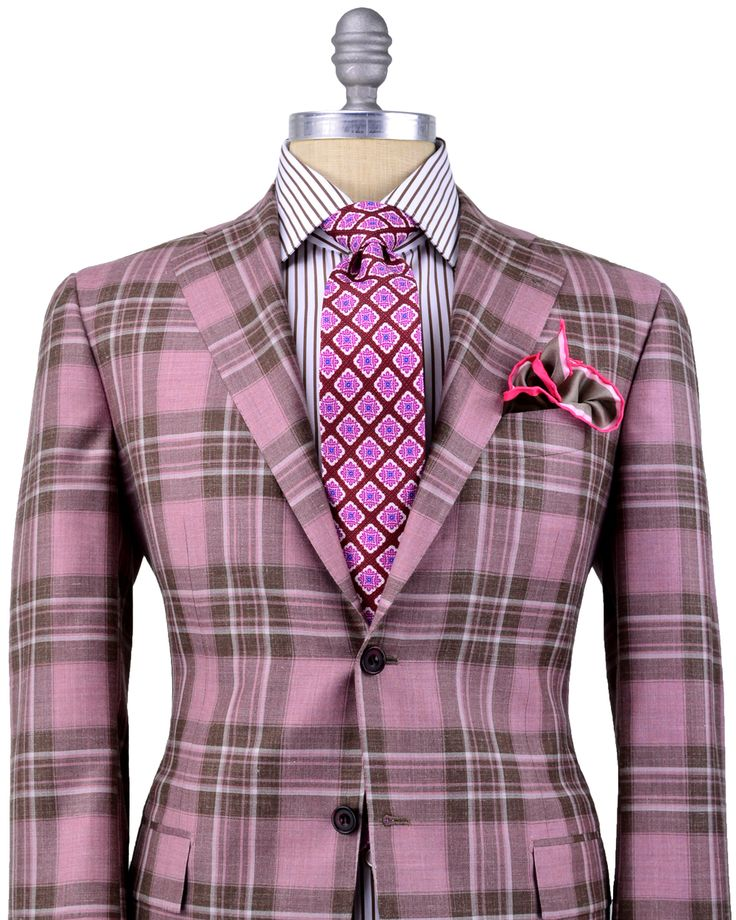 Kiton | Salmon Plaid Sportcoat | Apparel | Men's