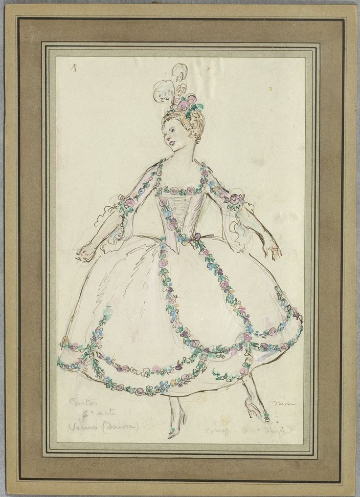 """Costume design (1918), by Jacques Drésa (1869-1929), for Venus, in Act 5 of """"Castor et Pollux"""" (1737), by Jean-Philippe Rameau (1683-1764)."""