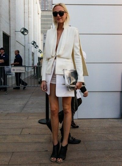 STREET STYLE : Maison Martin Margiela blazer / cape with silver clutch bag and black sandals...