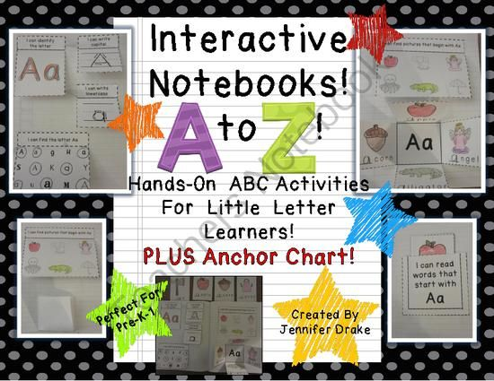 Interactive Notebook From A to Z! ~ABC Journal for Little Letter Learners!~ from Jennifer Drake on TeachersNotebook.com -  (88 pages)  - Wondering if Interactive Notebooks can be used within a kindergartens classroom?  YES!  This product shows you how!