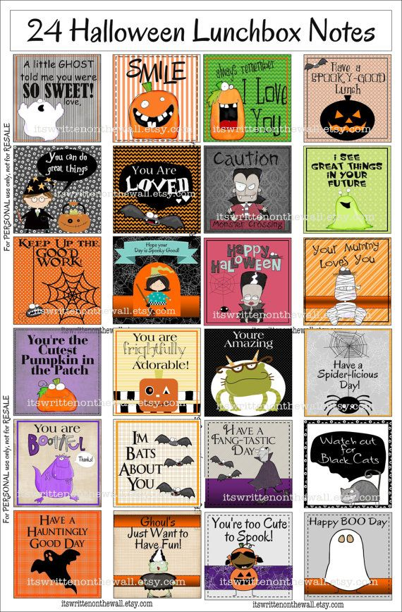 Couldn't wait for you to see our Halloween LUNCHBOX NOTES-24 in the set-The kids are going to love them! It's a perfect holiday surprise for school lunch