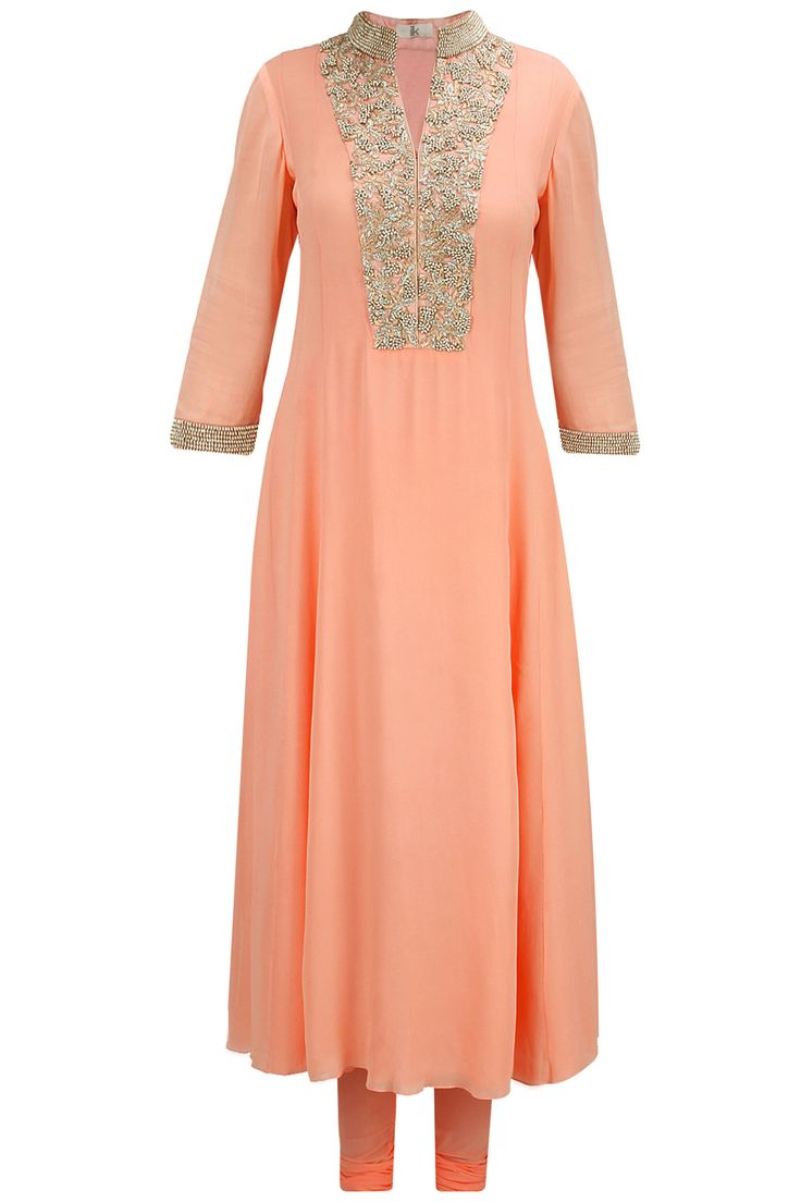 Peach zari and bead embroidered kurta set available only at Pernia's Pop-Up Shop.