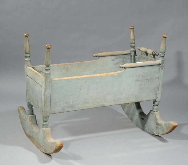 "18th C. American country wooden four post cradle in old green paint, 37"" L Berceau ancien XVIIIe siècle USA"