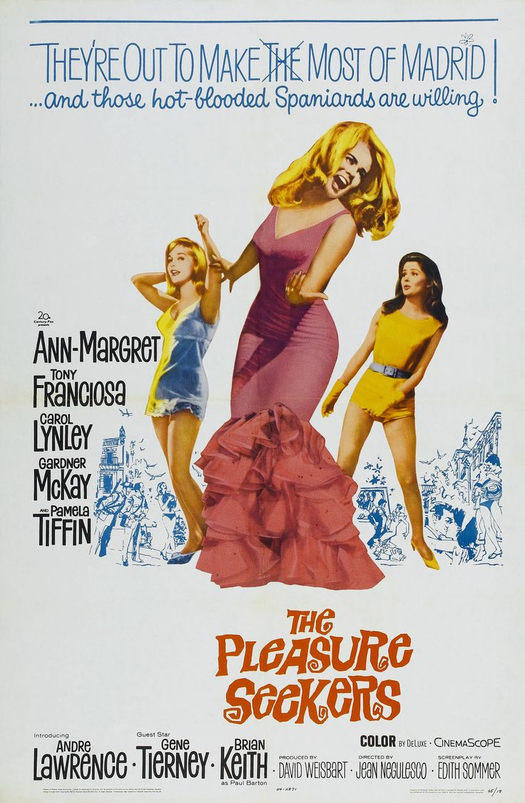 20th Century-Fox gussied up its 1954 hit THREE COINS IN THE FOUNTAIN for the 1960s, and the result was THE PLEASURE SEEKERS. Three American girls in search of wealthy husbands head to Madrid. Ann-Marg