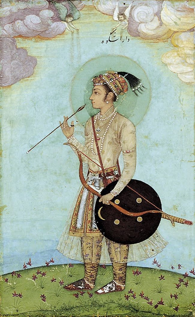 ca. 1628. Sultan Muhammad Dara Shikoh as a boy with archery kit. The eldest son and heir apparent of Mughal Emperor Shah Jahan but was defeated and later killed by his brother in 1659 in a power struggle for control of Mughal India.