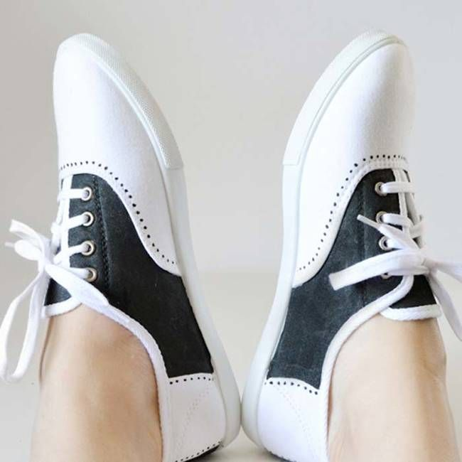 3.) A pair of white lace-ups become vintage saddle shoes with a black permanent marker.