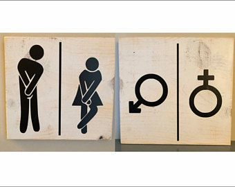 Man and woman bathroom sign, Gender sign, Bathroom sign, Restroom sign, Bathroom wall decor, Bathroom decor, Rustic bathroom decor, Bathroom