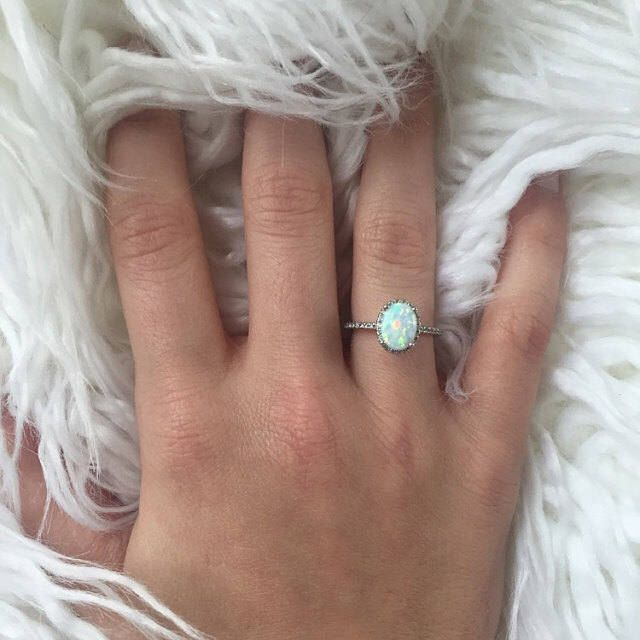 Sterling Silver Opal Ring with Halo FREE Gift Box & FREE Shipping Codes Below Alternative Bride Rings Opal Engagement Ring Promise Ring by AlphaVariable on Etsy https://www.etsy.com/listing/529736245/sterling-silver-opal-ring-with-halo-free