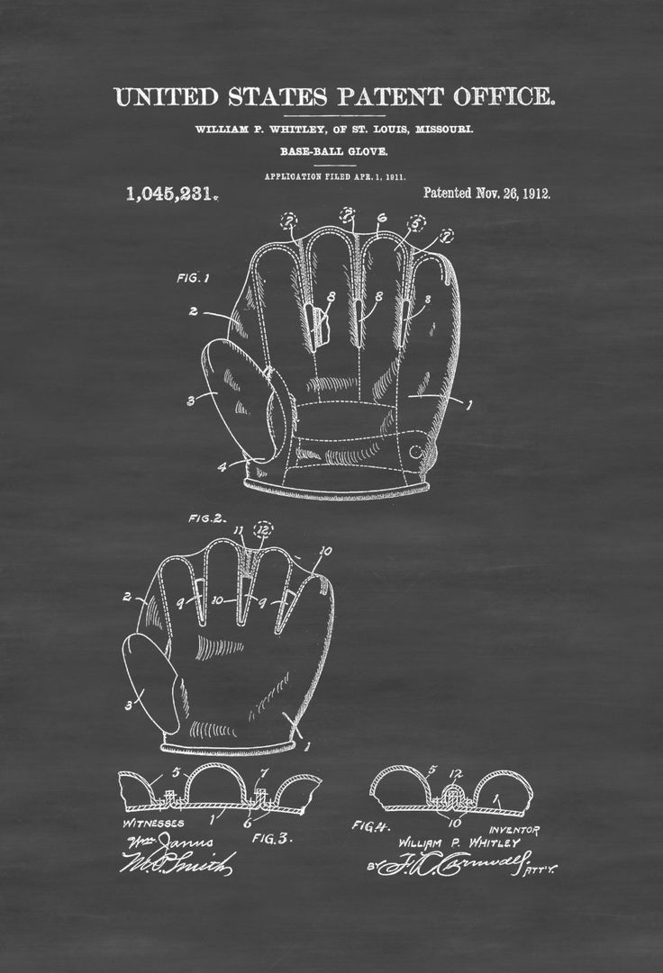 A patent print poster of a baseball glove invented by William P. Whitley. The patent was issued by the United States Patent Office on November 26, 1912.Patent prints allow you to have a piece of…MoreMore