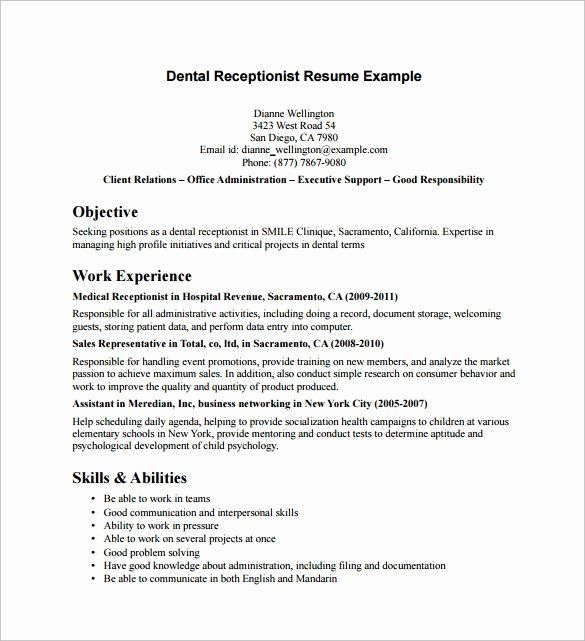 √ 20 dental receptionist job description resume with