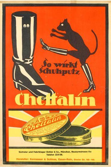 Chettalin shoe polish German vintage advertising poster (1911)