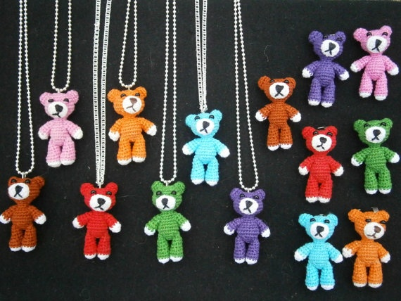 Miniature Crochet Bear pendant or brooch by aigapele on Etsy, $25.00