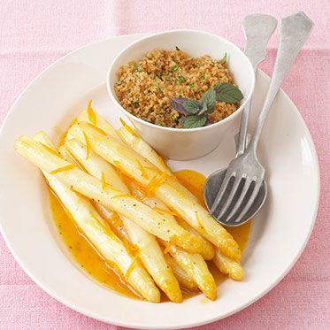 Orangenspargel mit Kräutercouscous Rezept | Küchengötter
