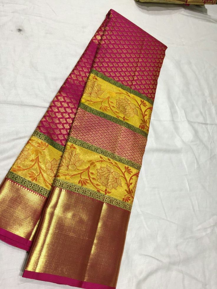 Pure Kanchipuram Handloom Silk saree with fancy body design  And emboss blouse  Price :15500 Order what's 7093235052