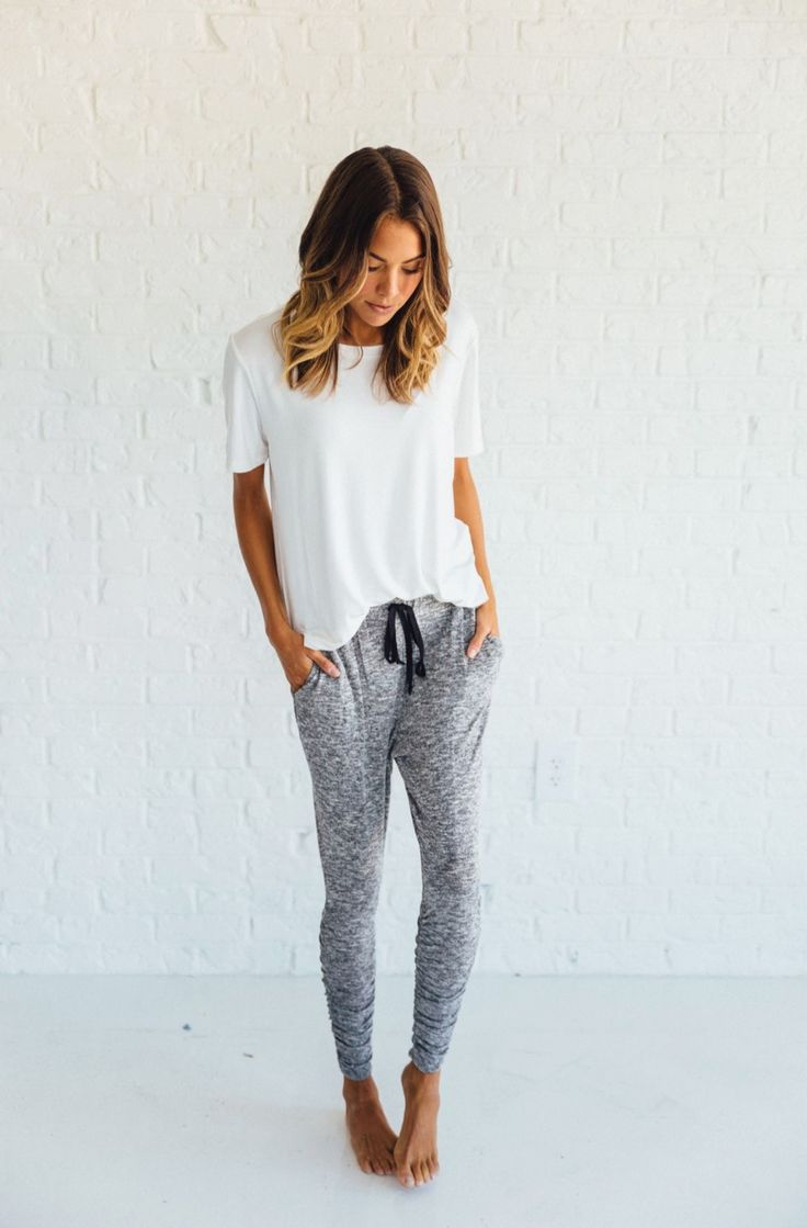 heathered ruched joggers by clad + cloth