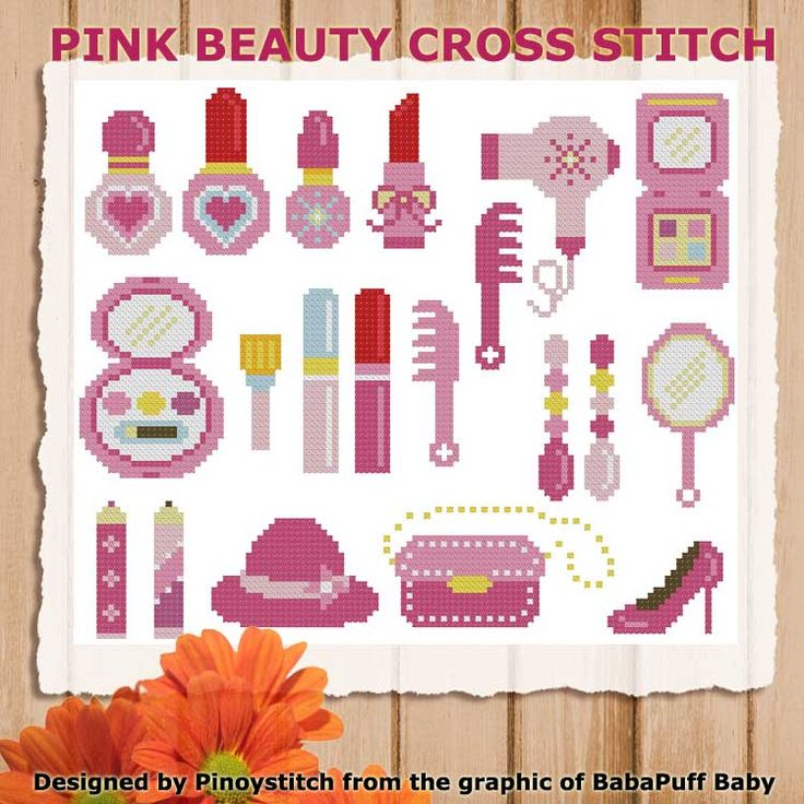 Mini Cross Stitch Pattern: Pink Beauty Design Source: BabaPuff Baby DMC Floss Colors: 12 Stitch Count: 114 x 96