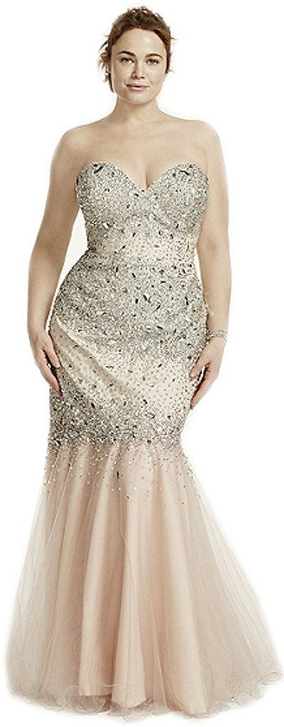 Udesignwecustomize Plus Size Prom Mermaid Dress Mesh XXX-Large Ivory
