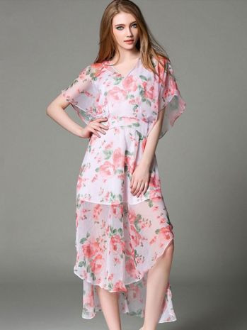3b45f627cc8e6 Floral Printing Tie-dye V-Neck Half Sleeves Maxi Dresses in 2019 ...
