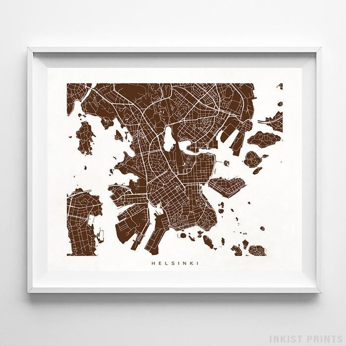 Helsinki Finland Street Map Wall Art Poster. 70 Color Options. Prices from $9.95. Available at InkistPrints.com - #streetmap #map #homedecor #wallart #Helsinki #Finland