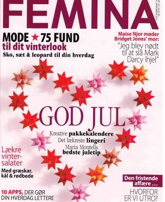On the Cover of Femina.dk with hand folded stars from star Garlands no 3 and 31 arranged as a lovely Heart. The stars are handmade by Stjernestunder.dk  #origami #stars #stjernestunder