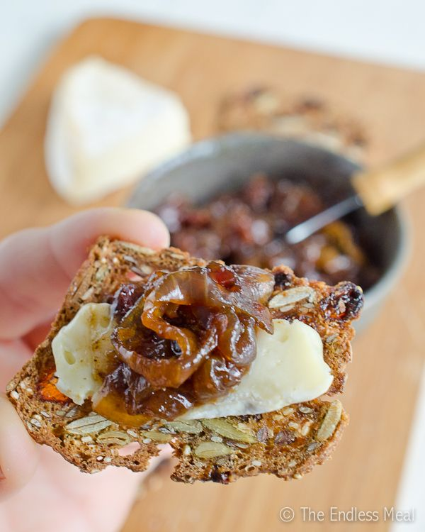 The Best Bacon Jam  1 lb. thick cut bacon 2 extra large sweet onions, quartered and thickly sliced ½ cup brown sugar ⅓ cup strong brewed coffee 1 tablespoon balsamic vinegar