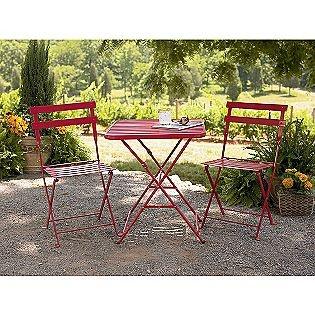 Wonderful French Bistro Steel Chair   Red  Garden Oasis 31.49