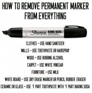 30+ Brilliant Mom Hacks That Will Make Your Life Easier --> How to remove permanent marker from everything.