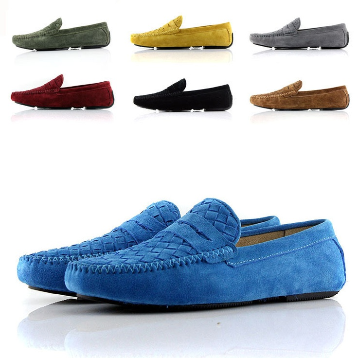 2013 new style Fashion knitted men's casual shoes with genuine leather  gommini loafers male casual low